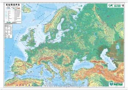 Europa Mapa Fizyczna 140x100 1 4 500 000