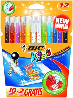 Flamastry Bic Colour & Erase  10+2