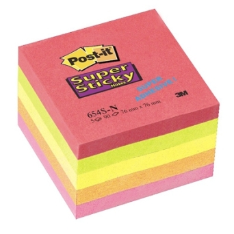 Bloczki samoprzylepne 3M POST-IT® 654S-N 76x76 Mix Neon