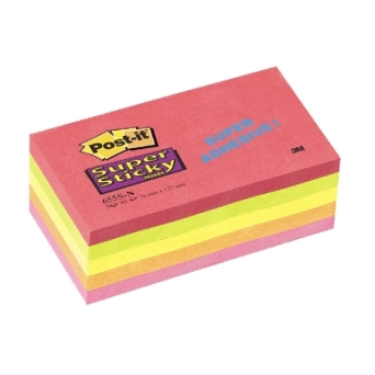 Bloczki samoprzylepne 3M POST-IT® 655S-N 76x127 Mix 450k Neon